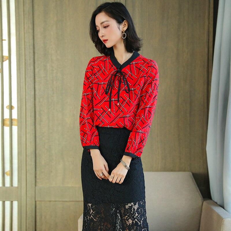 Blouses en soie florale dames bureau sexy décontracté rouge à pois fleur dessus de chemise 2019 été femmes grande taille livraison gratuite