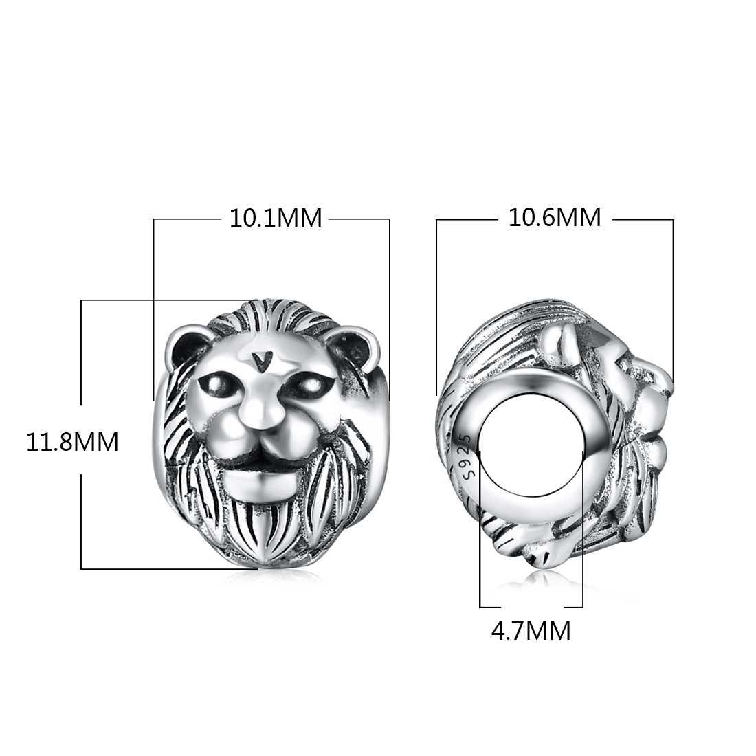 Dalaran genuíno 925 prata esterlina rei cabeça de leão contas annimal série encantos prata 925 original caber diy pandora pulseira