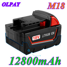 18V 12800mAh Li-ion Tool Battery for Milwaukee M18 48-11-1815 48-11-1850 2646-20 2642-21CT Repalcement M18 Battery