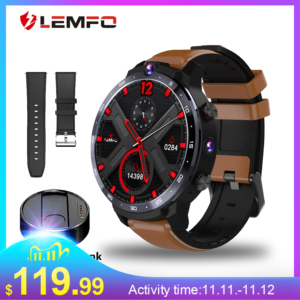 LEMFO LEM12 Smart Watch 4G 1 6 inch Full Screen OS Android 7 1 3G 32G  Face ID LTE 4G Sim Camera GPS WIFI Heart Rate Android Men