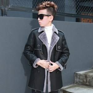 Image 4 - Высококачественная куртка для мальчиков, осенне зимняя модная корейская детская теплая куртка из искусственной кожи с бархатным утеплителем для детей, пальто для детей, на возраст от 2 до 8 лет