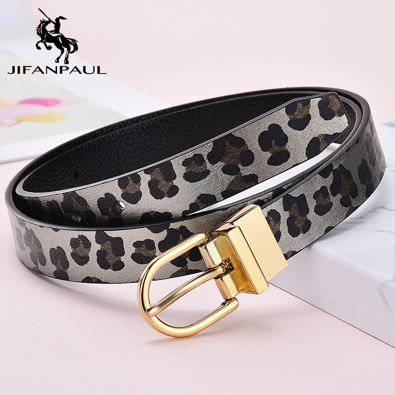 JIFANPAUL Women's Genuine Leather Fashion Belt with Ladies Dress High Quality Vintage Belt Luxury new Gold Buckle Free Shipping