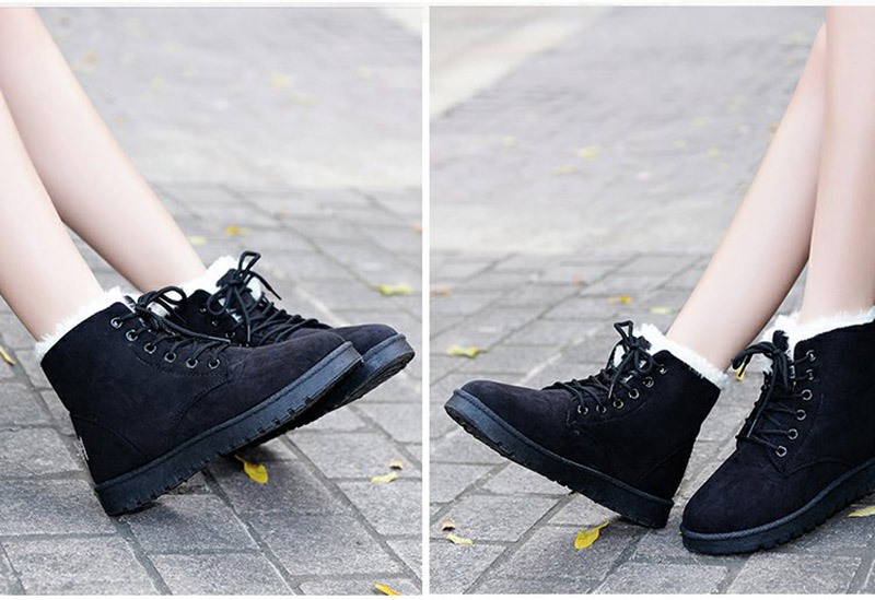 Women Flock Fur Flat Lace Up Winter Snow Suede Ankle Boots Female 27