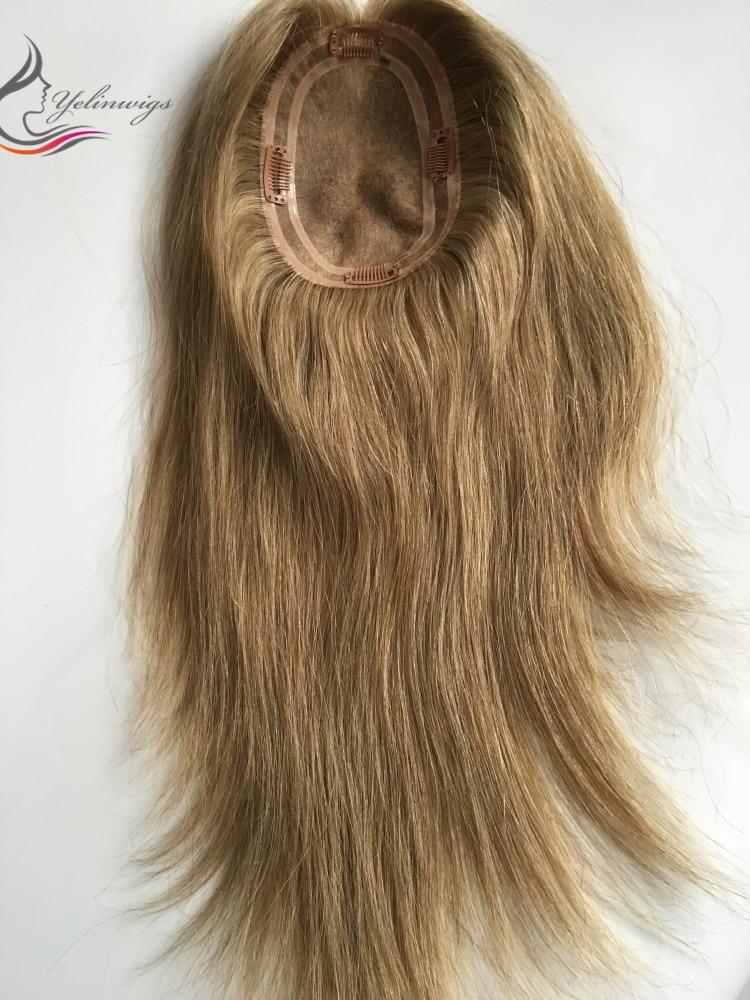 20 Inch 12x17cm Handtied Virgin European Hair Topper Finest Mono Base Human Hair Pieces