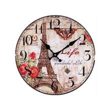 2016 New Digital Wall Clock Hot Sale The Eiffel Tower Creative Painted Wood Plastic 0002C