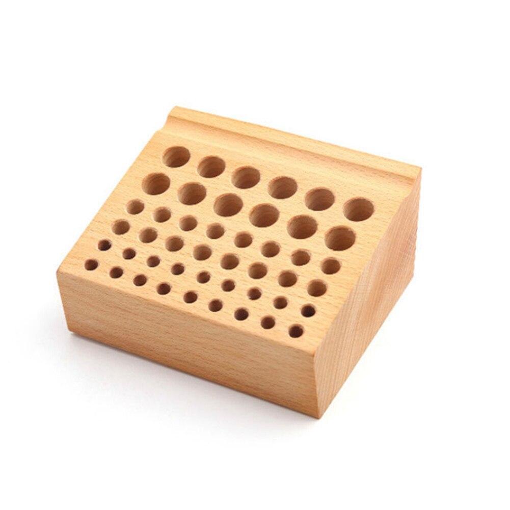 Wood Box Home Storage Rack Professional Mini Drill Bit Frame Brush Tool Holder Placement 46 Hole Screwdriver Seat DIY