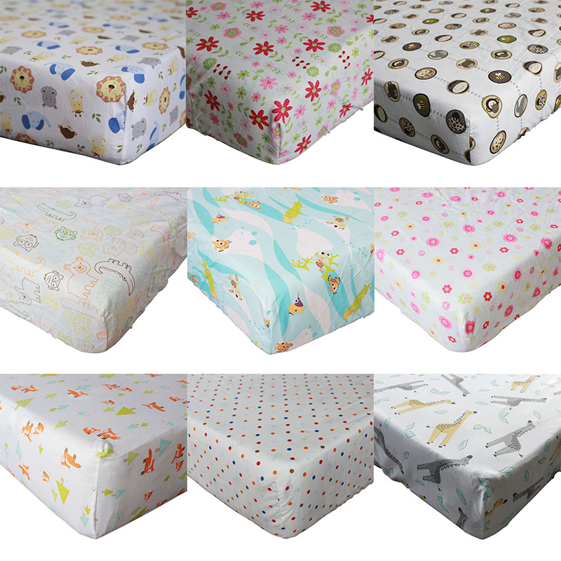 100% Cotton Fitted Sheet Soft Breathable Baby Bed Mattress Cover  Protector Cartoon  Printed Newborn Infant Bedding 71*132*22