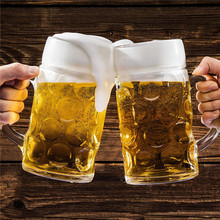1000ML Beer Glasses Mug Large Capacity Thick Beer Mug Glass Crystal Glass Cup Transparent With Handle for Club Bar Party Home