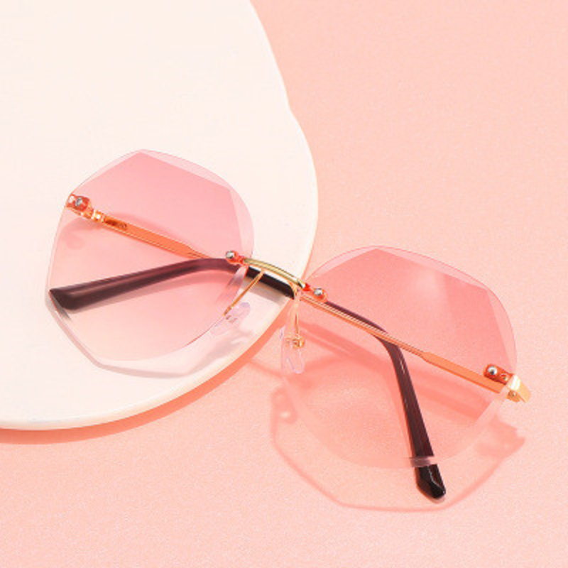 Nauq Vintage Polygon Frameless Trimming Sunglasses Women 2020 Luxury Brand Trend Round Frame Gradient Sun Glasses Pink Mirror