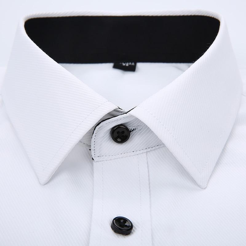 mens work shirts Brand soft Long sleeve square collar regular  solid plain/ twill men dress shirts white male tops 5