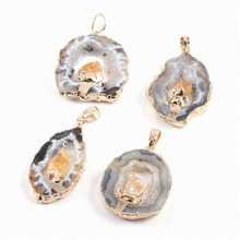 Irregular Druzy Stone Pendant Natural Agates Citrines Necklace Pendants Charms for Jewelry Making DIY 25x45x4mm