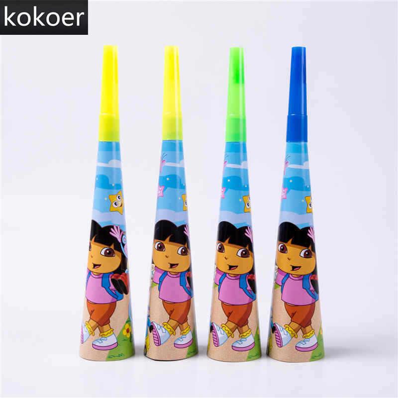 Cartoon Dora the Explorer jednorazowy kubek papierowy talerze serwetki Banner obrus Baby Shower Birthday Party materiały dekoracyjne