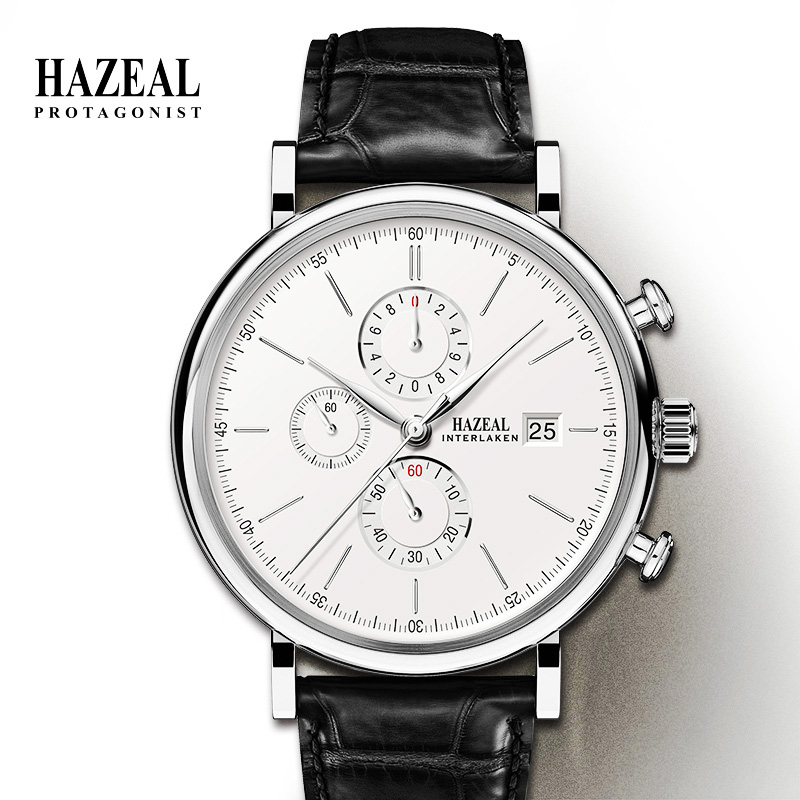 HAZEL Switzerland Luxury Men's Quartz Watch Business Male Wristwatch Waterproof Leather reloj hombre Sapphire saat erkek Fashion Quartz Watches  - AliExpress