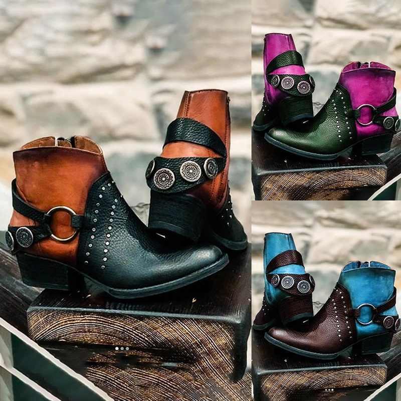2020 kadın sonbahar çizmeler yeni PU deri kadın çizmeler Vintage Bohemian ayak bileği kadın ayakkabı fermuar düşük topuk bayan ayakkabı
