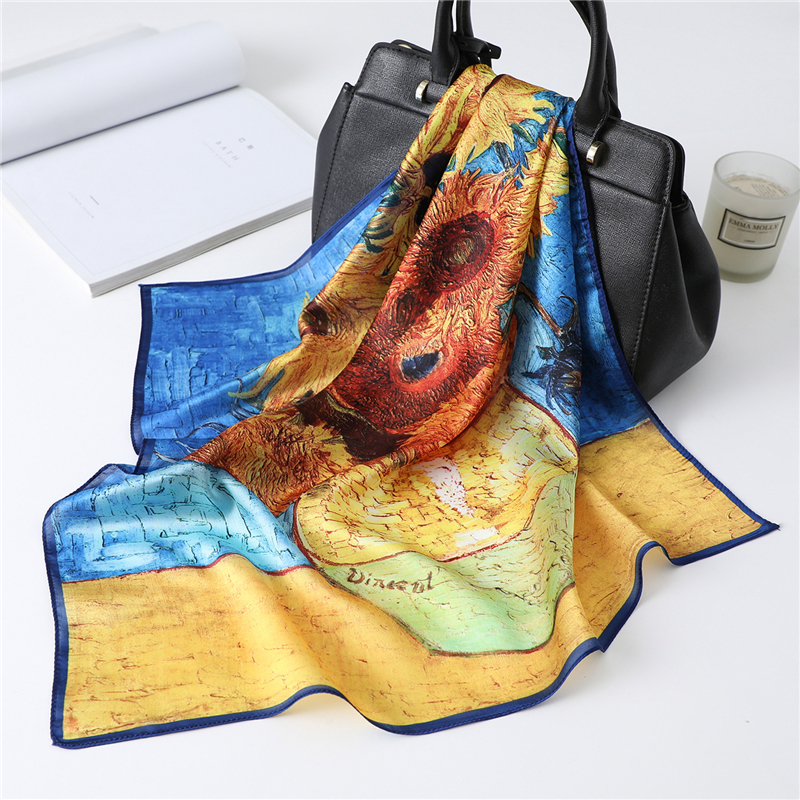 Retro Oil Painting Silk Scarf Women Print Neck Foulard Band Hair Scarves Bag Tie Accessories Small Square Bandana