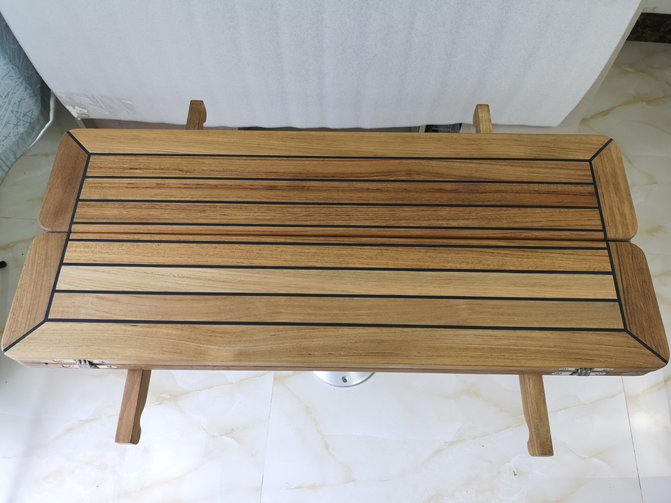 Folding Wing Teak Table Top With Two Wings Nautic Star 3 Sizes Marine Boat RV