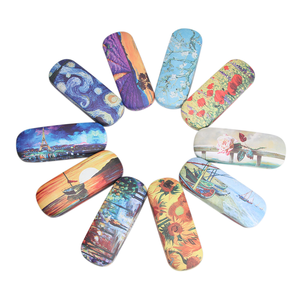 Oil Painting Glasses Case Box Women Hard Leather Reading Glasses Case Men Retro Unisex Floral Print Eyewear Protector
