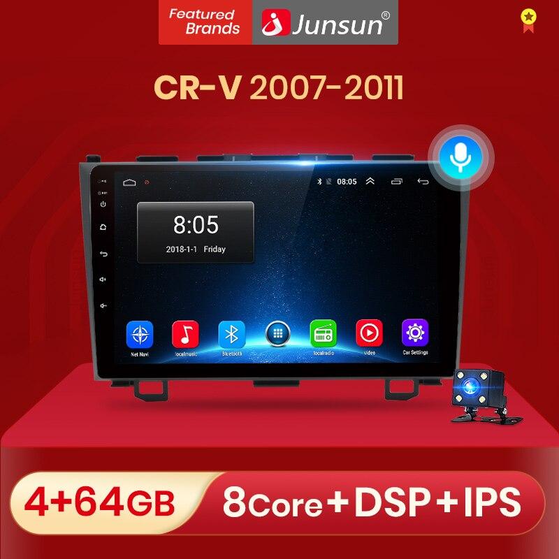 Junsun автомобильное радио AI голосовое управление 2 ГБ + 32 ГБ Android 10 для Honda CR-V 3 RE CRV 2007-2011 автомобильное радио мультимедийный видеоплеер RDS Введит...