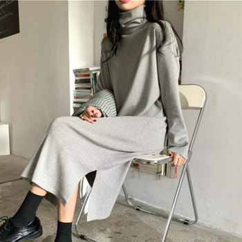 Sweater Dress Women Turtleneck Office Lady Casual Elegant Knitted Dress Long Sleeve One Piece Dress Korean 2020 Autumn Winter 2020 elegant knitted sweater dress women korean causal autumn spring hollow out long sleeve loose pullover long dress black