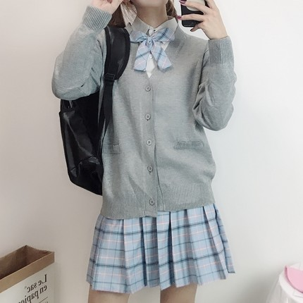 Japanese School Uniforms Jk College Style Students Girls Long Sleeve Tops+tie+skirt+cardigan Gray Pleated Skirt British Style