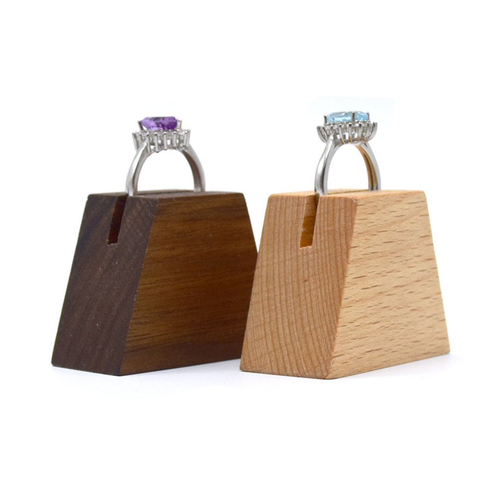 Solid Wood Ring Display Storage Showcase Jewelry Ring Earring Display Organizer Box Art Craft Trapezoid Ring Holder