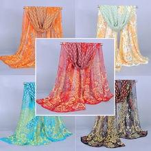 2019 Boho Women Ladies Chiffon Floral Scarf Feather Soft Wrap Long Shawl NEW