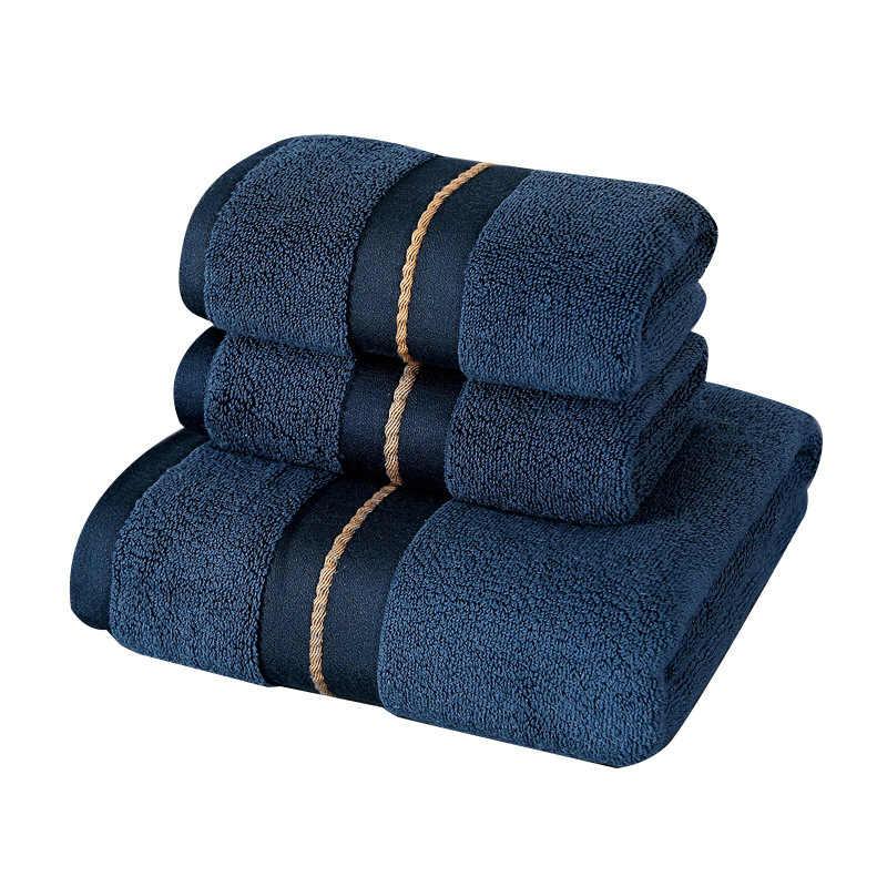 드롭 배송 대형 비치 타월 테리 3 개/대/세트 타월 세트 목욕 샤워 호텔에 수 놓은 100% 코튼 소프트 욕실 페이스 타올