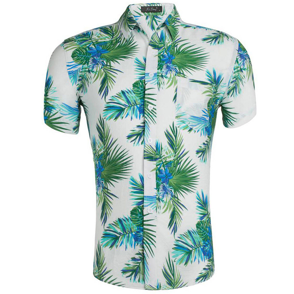 Mens Hawaiian Shirt Male Casual Camisa Masculina Printed Beach Shirts Short Sleeve Summer Men Clothes 2019 Asian Size  Apr26