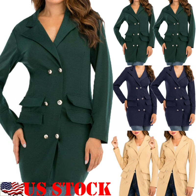 Women Ladies New Long Sleeve Formal Office Suit Plus Size Slim Blazer Slim Button Suit Coat Solid Work Jacket