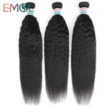 Emol Kinky Straight Human Hair Weave Bundles Indian