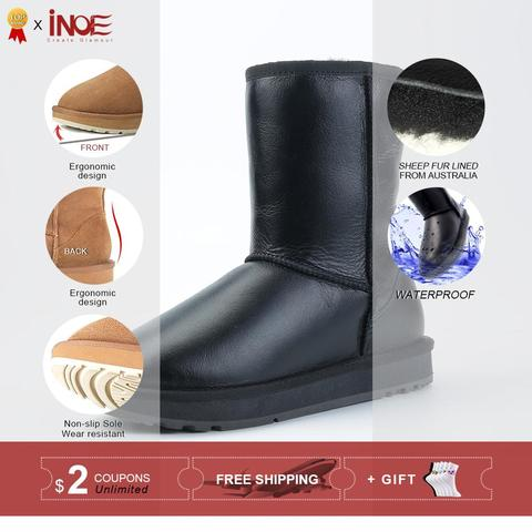 INOE Classic Men Mid-calf Sheepskin Leather Snow Boots Shearling Wool Fur Lined Winter Boots Keep Warm Shoes Waterproof Black Lahore