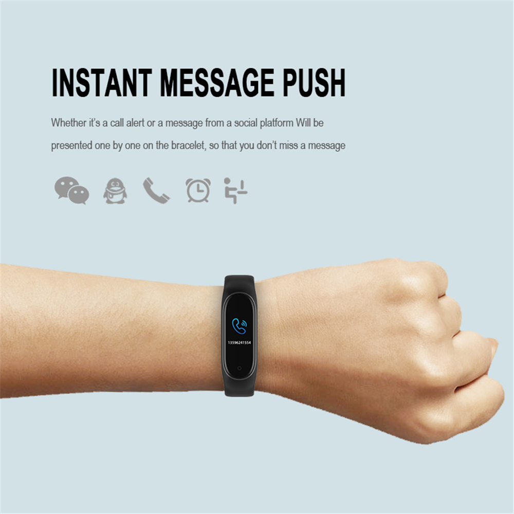M4 Color Screen Smart Wristband Heart Rate Monitor Fitness Activity Tracker Smart Band Blood Pressure Music Remote Control-5
