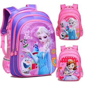 New kids cartoon Elsa Anna schoolbag girls princess cute school bag children backpacks for grade 1-6 in stock