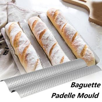 Nonstick French Bread Baking Mold Bread Wave Baking Tray Practical Cake Baguette Mold Pans 2 Groove Waves Bread Baking Tools 3 4 groove waves french bread baking tray bread baking pan reusable non stick baguette bread wave mold toast baking supplies