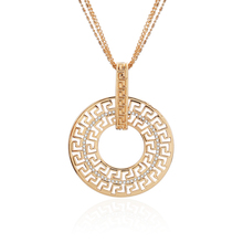 Gold Silver Vintage Hollow Round Crystal Circle Pendant Necklace for Women Multi-layers Chain Long Fashion Jewelry Gift