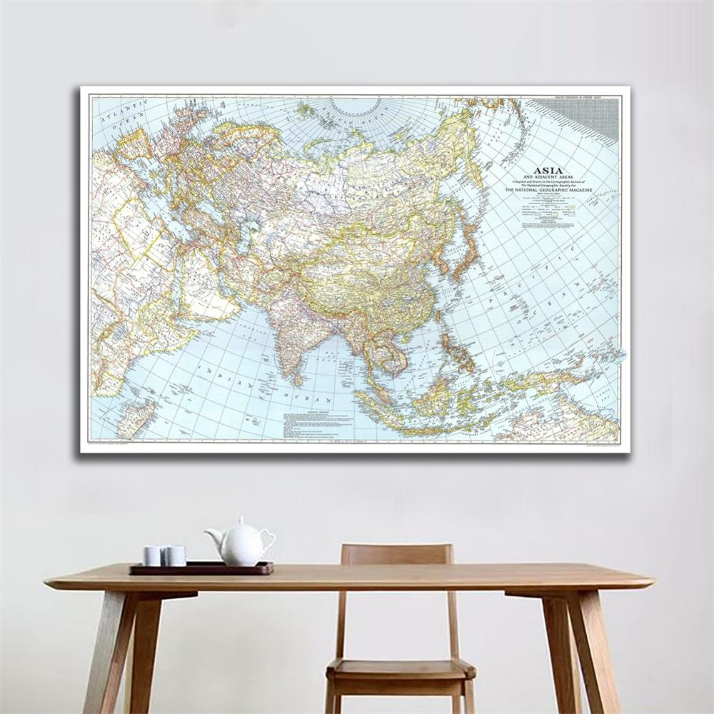 1942 Edition HD Map Of Asia And Adjacent Areas Vinyl Spray Painting Living Room Wall Decor Map For Home Art Crafts