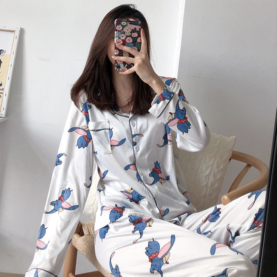 Womens Pajamas Sets Cartoon Print 2019 Autumn Long Sleeve Two Pieces Set Women Sleepwear Sexy Nightwear For Women Sleeping Set