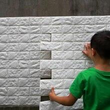 Autocollants muraux en brique 3D 70*77, étiquette adhésive en mousse PE, pour bricolage, panneaux de décoration de fond de salon TV, chambre d'enfant, 10 pièces
