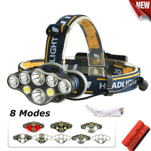 NEW 20000lm COB LED Headlight +T6 Headlamp 8-Mode USB Camping Torch 5/6/7/8 LED for 18650 Battery Waterproof  Camping Flashlight