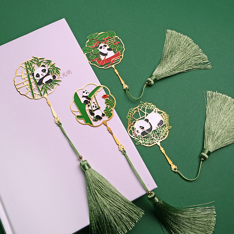 Panda Metal Bookmarks Creative Brass Fringed Animal Book Page Mark For Teachers Gifts School Office Supplies Kawaii Stationery