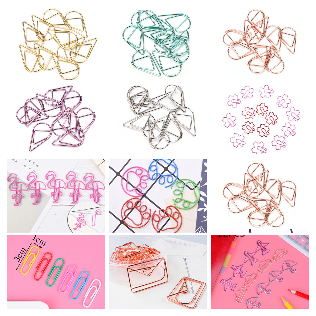 12pcs/lot  Beautiful Flamingo Bookmark Planner Paper Clip Metal Material Bookmarks For Book Stationery School Office Supplies