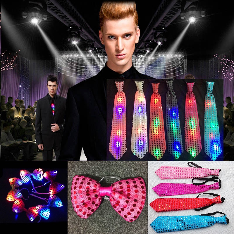 1pc Mens LED Light Up Flashing Sequin Bow Ties Party Bowtie Wedding Xmas Necktie