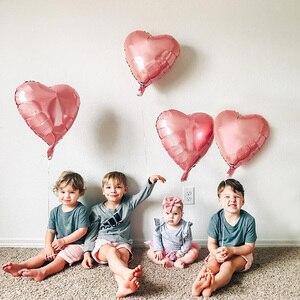 Image 5 - 50 Pcs 18 Pollici Aerostati Della Stagnola Del Cuore di San Valentino in Oro Rosa Rosso Decorazione di Cerimonia Nuziale Palloncino di Elio Rifornimenti Del Partito di Compleanno Della Ragazza Del Ragazzo