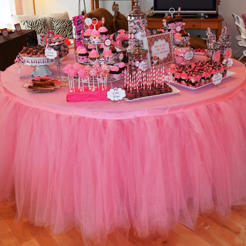 1pcs Tulle Table Skirt DIY Tutu Tableware Skirts For Wedding Decor Birthday Decoration Baby Shower Favors Party Home Textile New