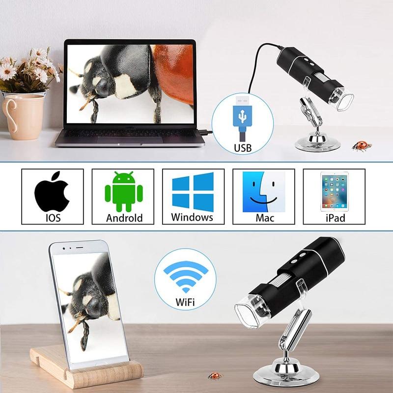 Tools : 1000X Digital Microscope HD 1080P LED USB WiFi Endoscope Mobile Phone Microscope Camera for Smartphone PCB Inspection Tools