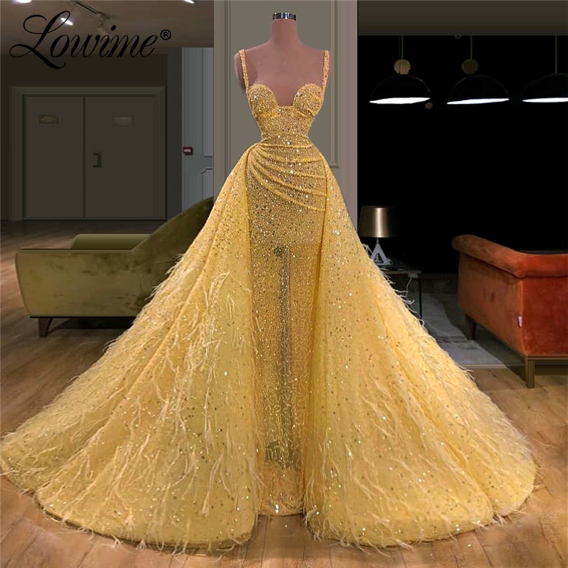 Yellow Beading Handmade Long Evening Dresses 2020 Arabic Women Prom Dress For Dubai Robe De Soiree Feathers Gowns Robe De Soiree