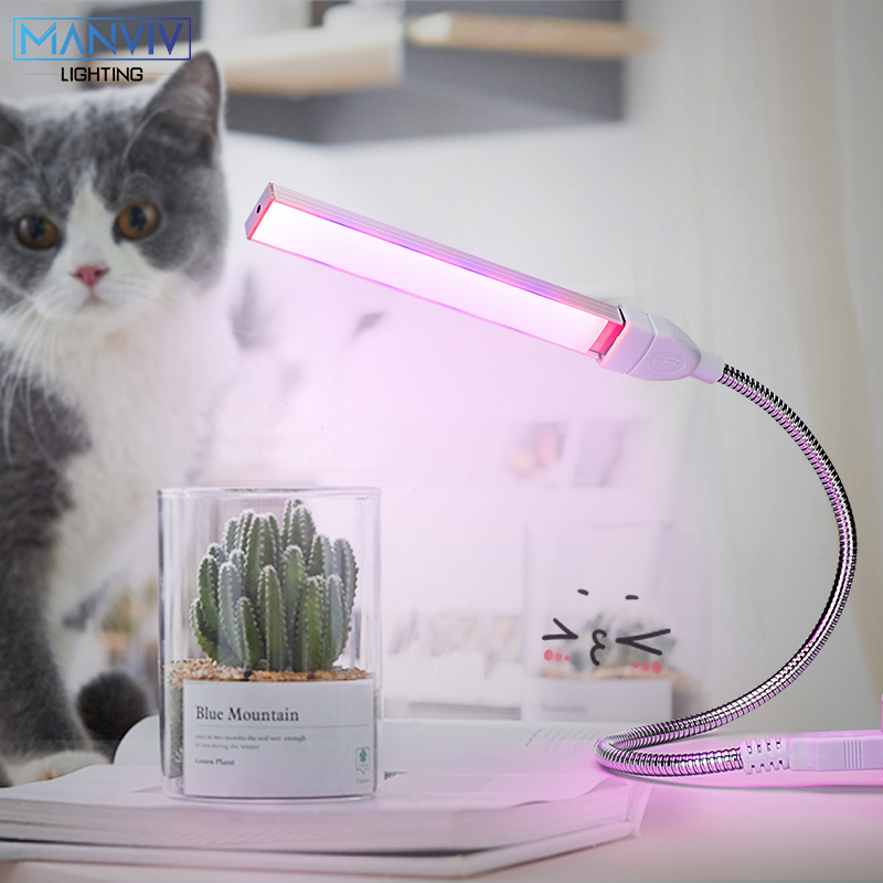 USB Portable LED Plant Grow Light 3W 5W Full Spectrum Phyto Lamp DC5V Rotation Flexible Light Indoor Desktop IR UV Plant Growing