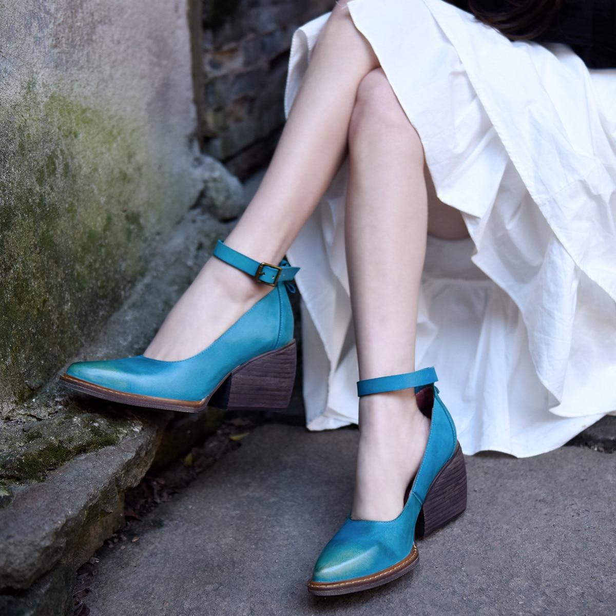Artmu Origional Retro High Heels Women's Shoes Chunky-Heel Buckle Shallow Mouth Handmade Shoes Genuine Leather Pointed Toe Shoes