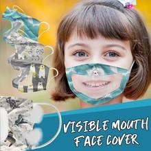 Maska do twarzy dla dzieci z przezroczyste okienko widoczna ekspresja dla głuchych i twardych aparatów słuchowych kostiumy akcesoria Cosplay tanie tanio Maski Unisex COTTON