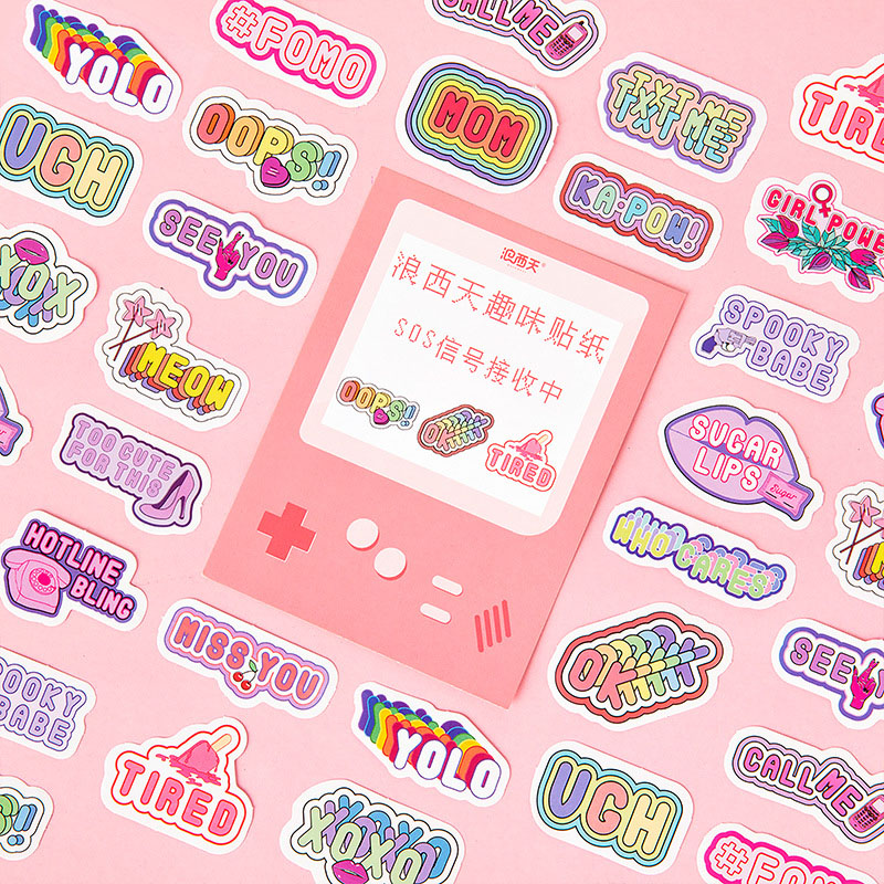Mohamm Langxitian Fun Sticker Pack Come And Play Series Of Hand-decorated DIY Stickers 46 Pieces Into 6 Models